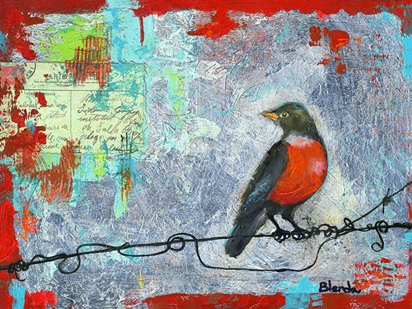 Robin Love Note 16X12""