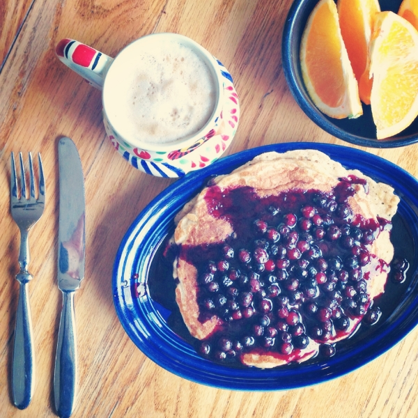 Oatmeal Pancakes with Blueberry Sauce. See photo below for view of my cute coffee mug.