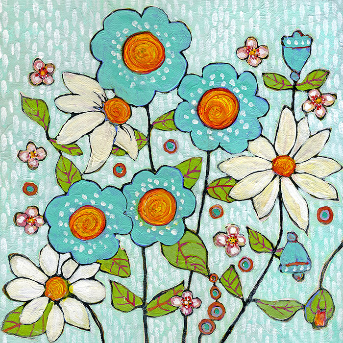 Daisy Blue Flowers Original Painting by Blenda Tyvoll
