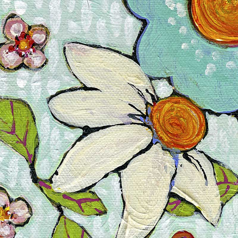 Detail Daisy Blue Flowers Painting 12X12 by Blenda Tyvoll