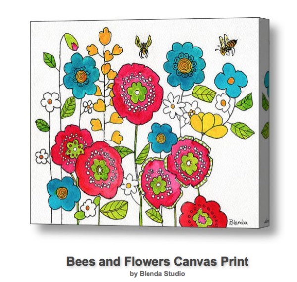 Bees and Flowers Print