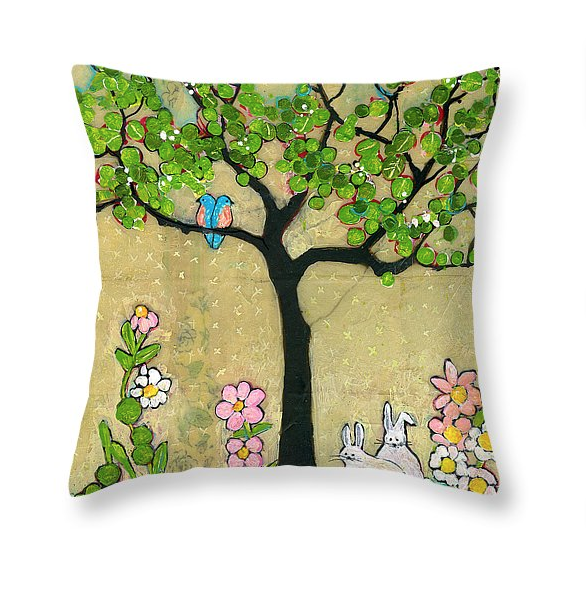 Bunnies and Birds Throw Pillow  by Blenda Tyvoll