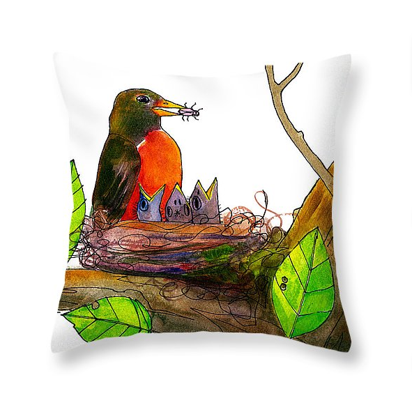 Robin Love Bug Throw Pillow  by Blenda Tyvoll