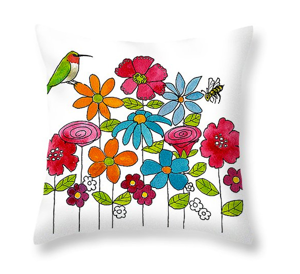 Hummingbird, Bee and Flowers Throw Pillow