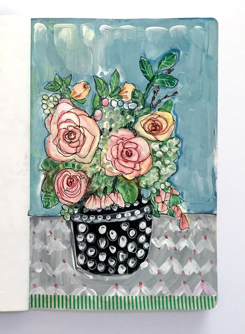 Bouquet of Pink Flowers in a Black Polka Dot Vase