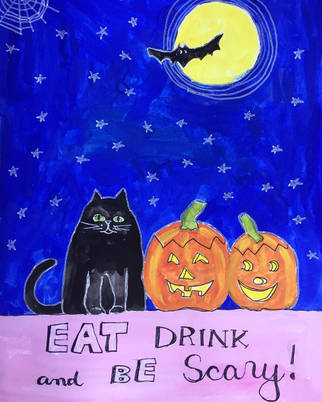 """Eat, drink, and be scary"" art by Blenda Tyvoll"