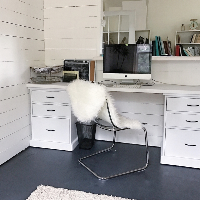 While visiting my studio be sure to take a peek at the newly painted office with modern Ikea chair with a faux sheep skin cover.