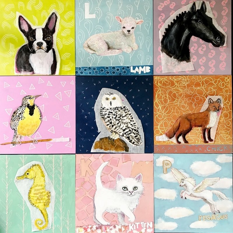 Work in progress showing a mock up of 9 of the animal alphabet abc artworks
