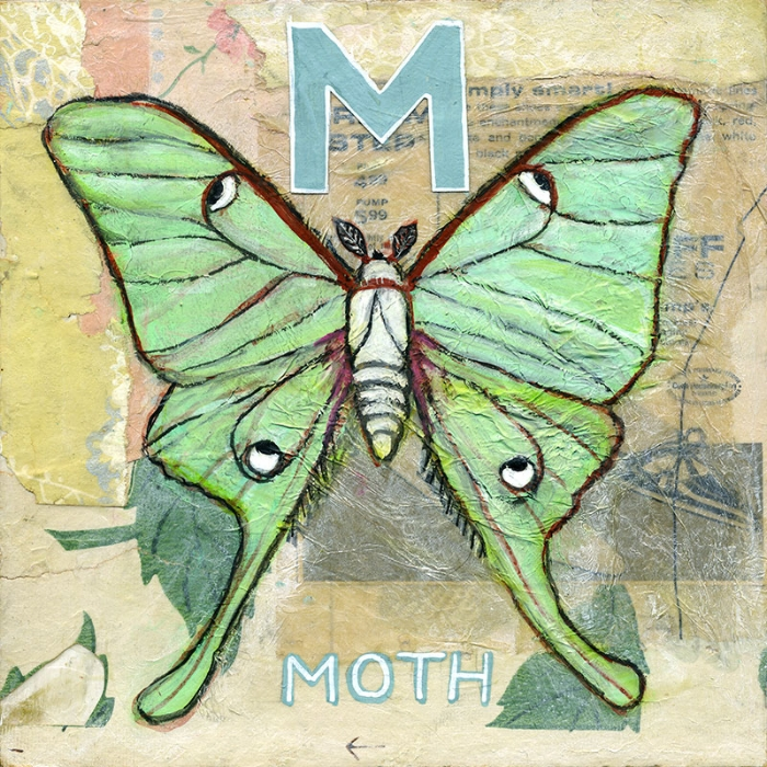 Moths are symbolic of intuition and determination. This is one of the paintings included in the  Animal Alphabet Series .