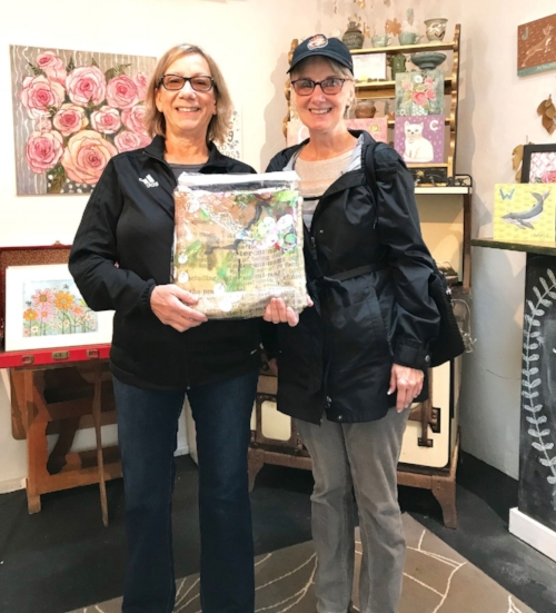 Barbara and a friend coming to pick up her new shower curtain!!