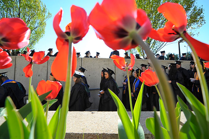 Graduating students make their way to the Fitness and Wellness Center on a beautiful spring evening for Mount Wachusett Community College's 48th Commencement in Gardner on May 16, 2013.