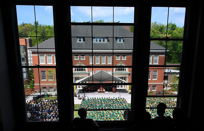 Attendees view the ceremony from Percival Hall.