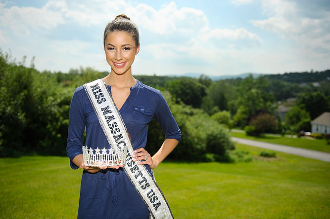 Sarah Kidd, 20, of Leominster, the reigning Miss Massachusetts USA, poses for a photo with her tiara and sash outside of her home. She will be competing in the 2013 Miss USA Pageant.