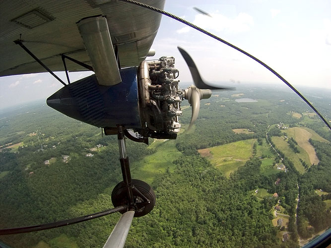 View out the window of a 1929 Ford Tri-Motor airliner. Only 6 of the planes are still in use in the world.