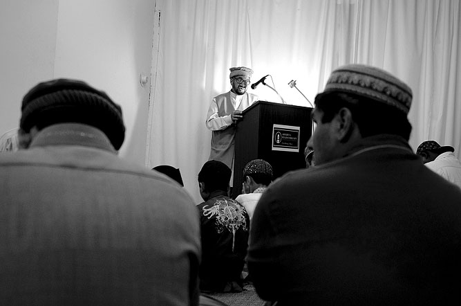 Bashir Uddin Mehmud, President of the Fitchburg Chapter of the Ahmadiyya Muslim Community, gives a sermon on the last day of Ramadhan at Masjid Bait-ul-Zikr at 370 Main Street in Fitchburg on August 9, 2013.