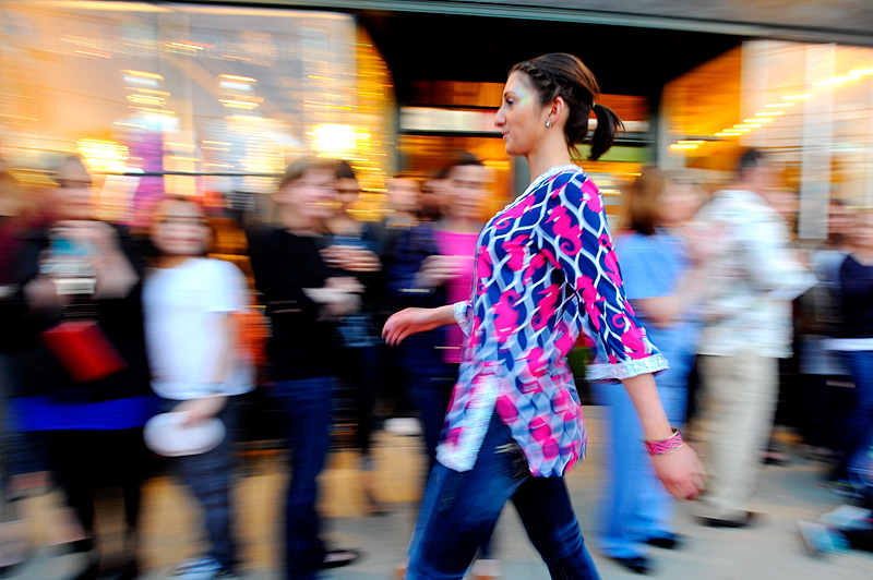 Julia Paoletti walks down the red carpet during the Fourth Fashion Mob Fairview Corner Fashion Show in West Roxbury, Thursday night. Money was raised for breast cancer research as well as , a nonprofit organization that rescues and gives new homes to unwanted and neglected pets. Wicked Local Staff Photo / Brett Crawford