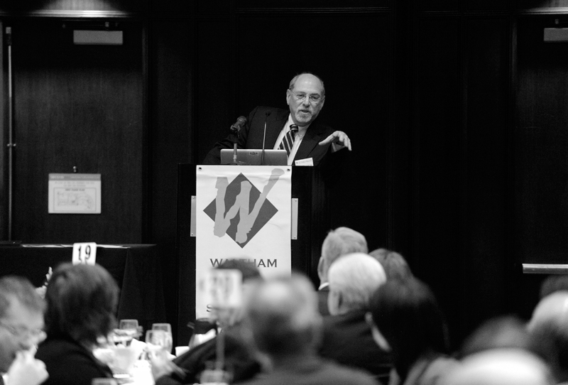 Barry Bluestone, Stearns Trustee Professor of Political Economy at Northeastern University provides the keynote speech during the West Suburban Chamber of Commerce's annual meeting and business luncheon at the Westin Waltham-Boston Hotel on Friday, Jan. 9, 2015.(Wicked Local Staff Photo / Brett Crawford)