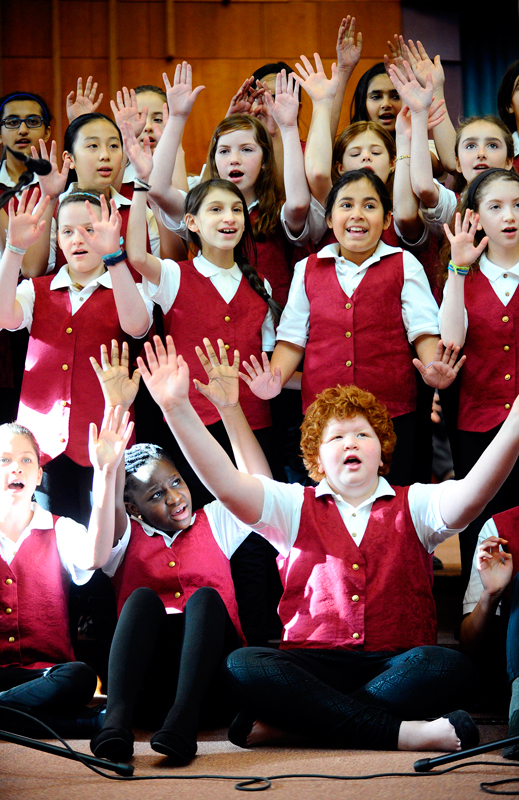 Members of the Newton All City Treble Singers, directed by Kathryn Denney, perform at the 47th annual Martin Luther King, Jr. Community Celebration at Temple Emanuel in Newton on Martin Luther King, Jr. Day, Monday, Jan. 19, 2015. (Wicked Local Staff Photo / Brett Crawford)