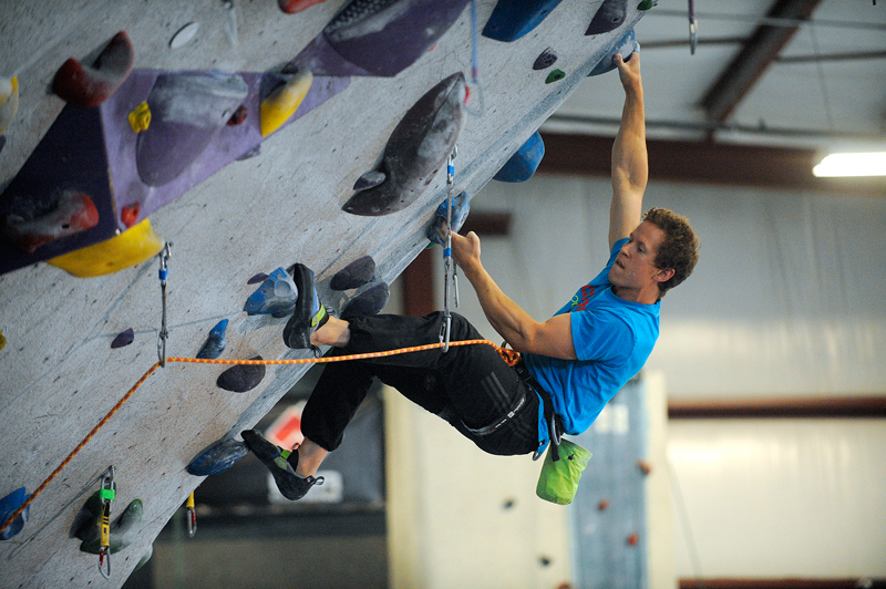 Shane Messer, 29, of Watertown climbs at Central Rock Gym in Watertown on Monday, July 27, 2015. (Wicked Local Staff Photo/Brett Crawford)