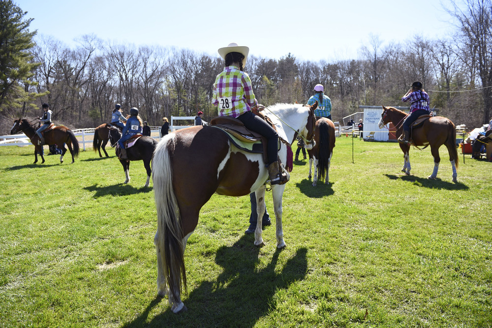Carol Fish, 14, of Chelmsford and her horse Dee Dee wait for their turn to compete at the Greater Billerica Horseman's Association's first show of the season on Sunday, April 24, 2016.