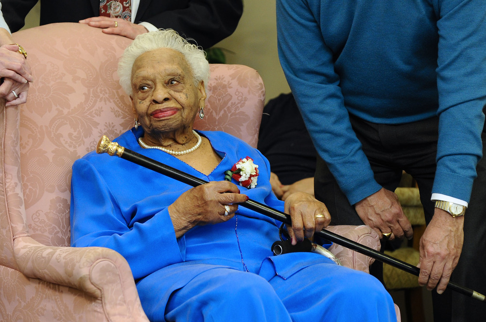 The Boston Post Cane is presented to Wellesley's oldest citizen, Herlda Senhouse, 105-years-old on Thursday, April 28, 2016. Herlda, born on February 11, 1911, is the 31st Wellesley resident to receive the Boston Post Cane and is the oldest resident to receive it under qualifications outlined by the Wellesley Historical Society, the keeper of the Cane.