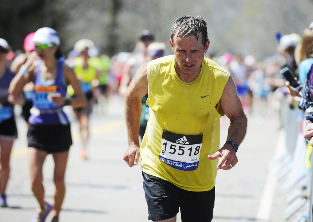 Michael Barr of Ohio fights his way up Heartbreak Hill in Newton during the 120th running of the Boston Marathon on Monday, April 18, 2016.