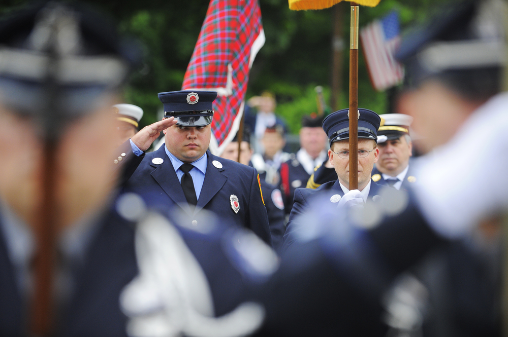 Members of the Westford fire department during the Memorial Day service in Westford on Sunday, May 29, 2016.