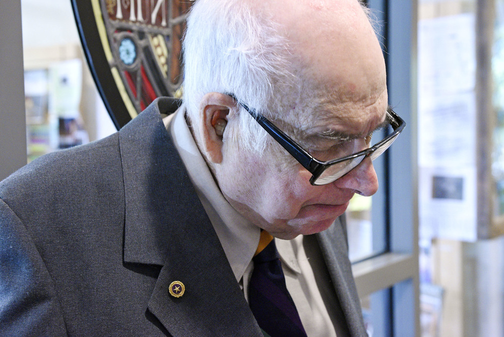 Martin Lederman of Brookline wears the Purple Heart pin on his jacket on May 23, 2016 at Brookline Town Hall during the presentation of the Purple Heart for his brother Melvin Lederman who was killed in the Vietnam War on Nov. 29, 1969 when the helicopter he and other servicemen were in was shot down. The incident was originally listed as a mechanical failure so the award was not given to the men. After an investigation showed the explosion was caused by gunfire, 5 servicemen were honored with the Purple Heart, but Martin's records were not fixed. Lederman's family fought for 47 years to have them changed and they were finally corrected recently by the office of Congressman Joe Kennedy III.