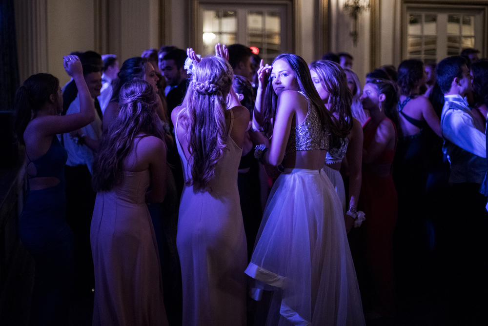 Students dance during Needham High School's prom at the Fairmont Copley Plaza in Boston on Thursday, June 2, 2016.