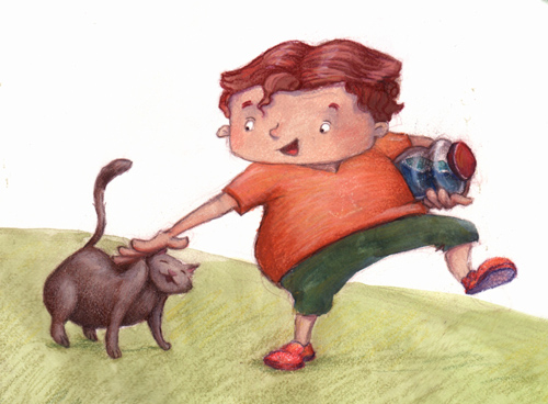 close up of boy and cat.