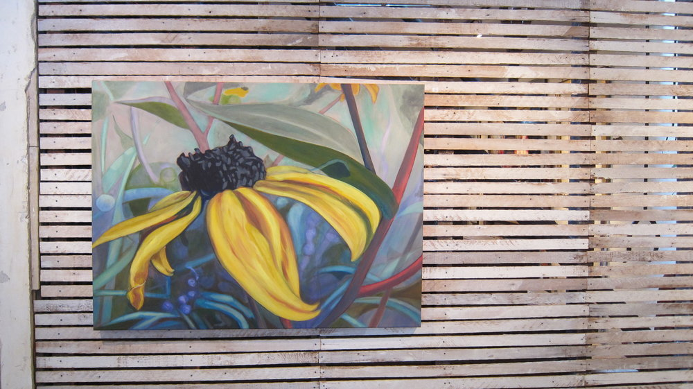 "#6 Black-eyed Susans , 30""h x 40""w, back wall, the view when you walked into the gallery."