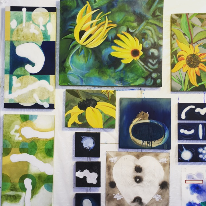 Some Moon paintings, some Black-eyed Susans, some Maps...
