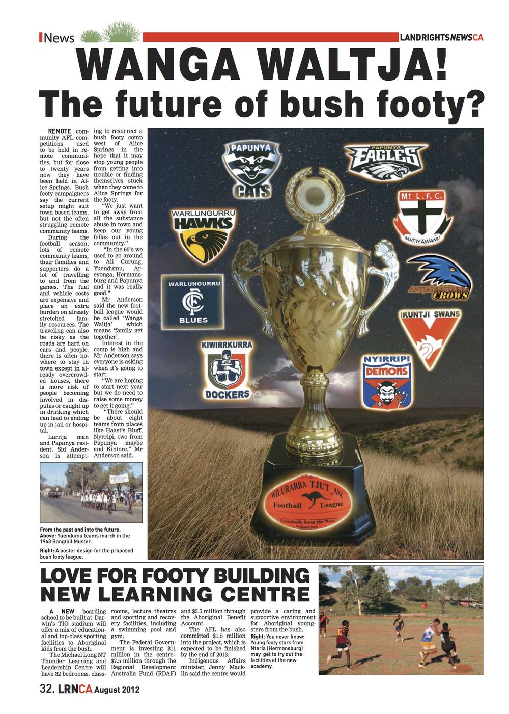 Article from Land Rights News about the bush footy comp