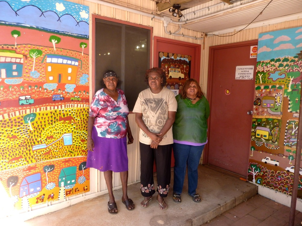 L-R  Margaret Boko, Louise Daniels and Betty Conway in front of the new paintings
