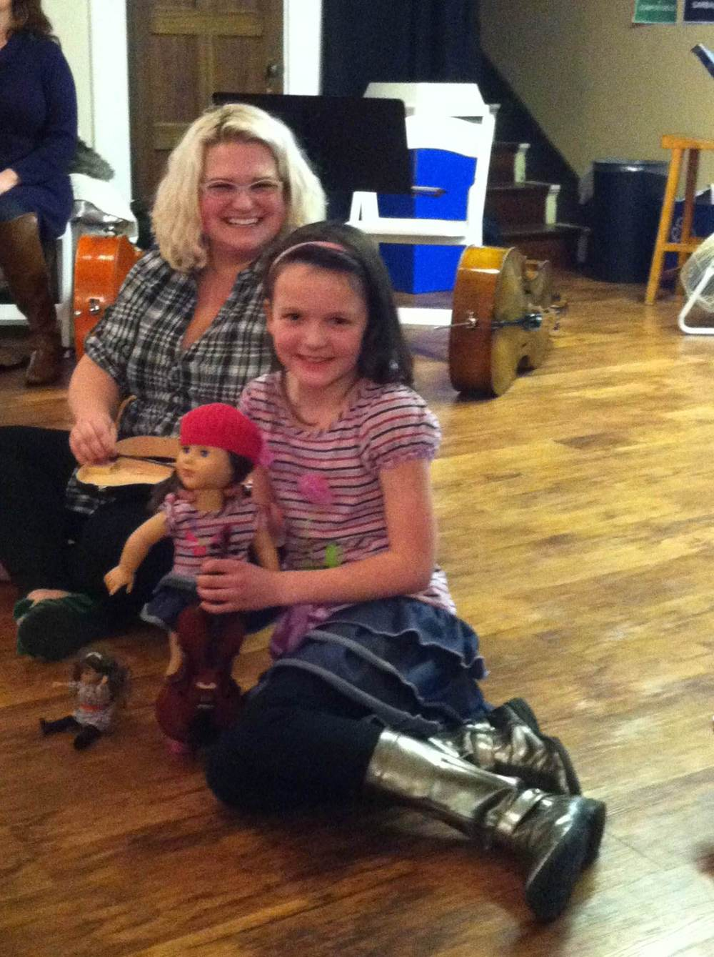 Maddie and her cellist American Girl dolls