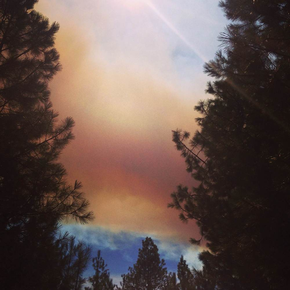 Back burn clouds from the forest fires in Leavenworth, WA