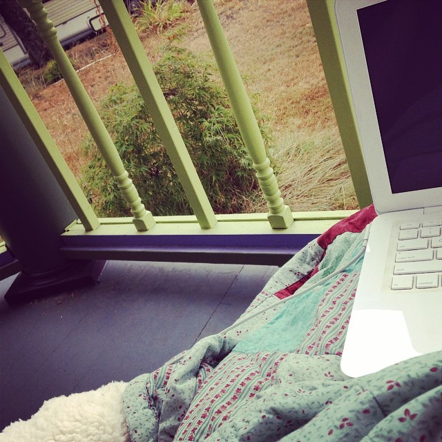 Blankets are required on the porch while writing songs.