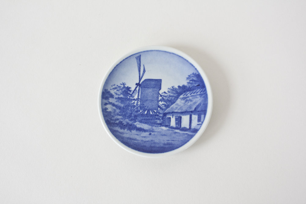 16-2. blue transfer ware mini plate