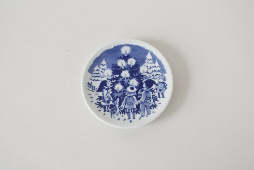 16-3. blue transfer ware mini plate
