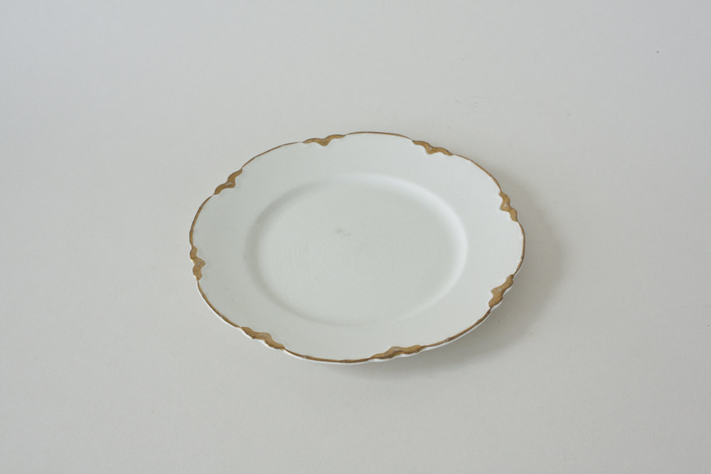 247. gold rimmed plate | 7"