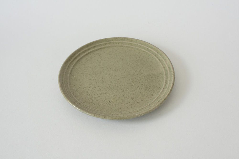 248. green pottery plate | 7.5""