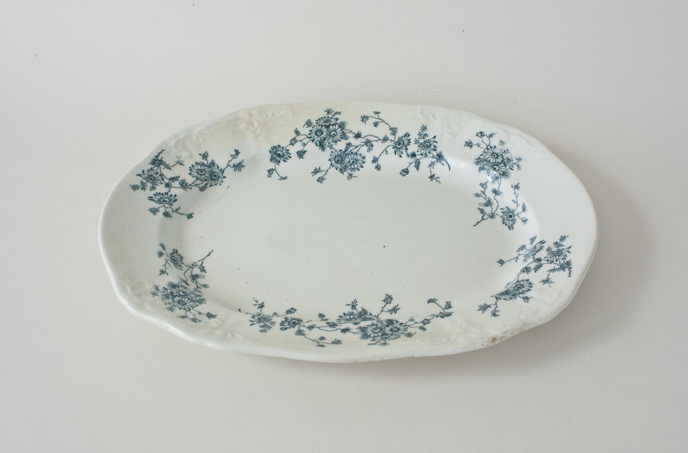 "258. blue floral platter | 12"" x 8.75"""
