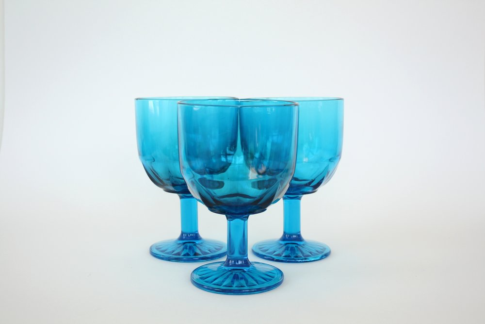 183. blue glass goblet | 6"