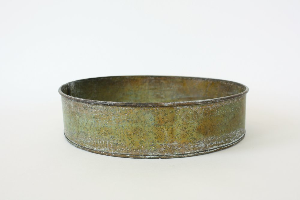 "194. metal patina vessel | 8"" x 3"""