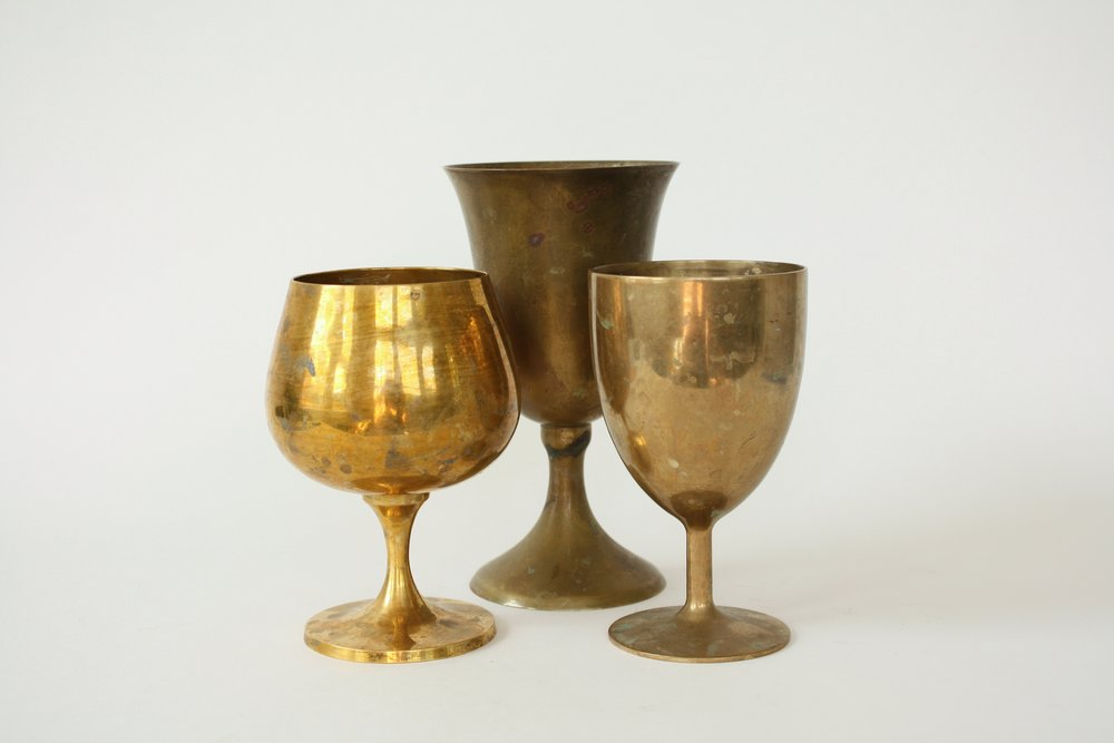 209. mixed brass goblets | 5-7"