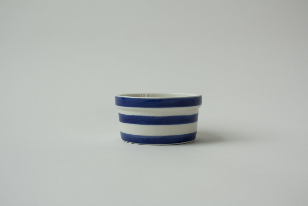 "735. striped crock | 3.5"" x 1.75"""