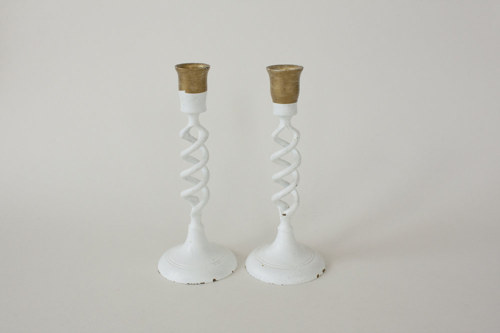 white & brass candlestick | 7.5"