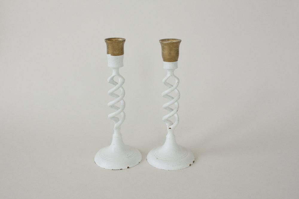 "white & brass candlestick   7.5""   2"
