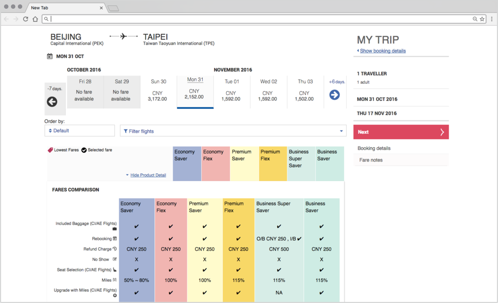 "Upon reaching the flight selection screen, you're bombarded with a breakdown of fare details. This should clearly be collapsed by defaut, and the various flights should be the focus here. It's also worth noting that the ""My Trip"" summary does not float while you scroll down through options."