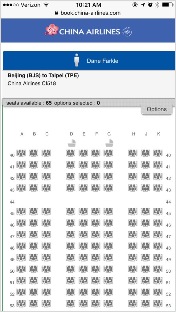 The seat selection screen is not scaled properly, and provides little information about each seat. The Options panel near the top opens up, though there's nothing in it.